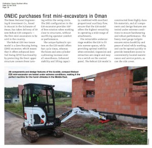 thumbnail of Quarry Southern Africa – ONEIC purchases first mini – excavators in Oman – 1 Nov 2016